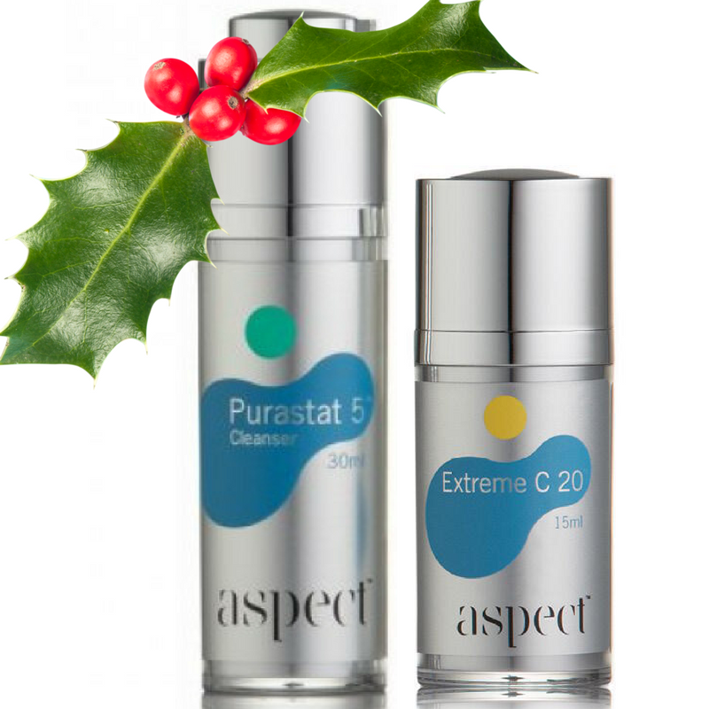 asoect kits Aspect Cleanse + Brighten Pack. Purastat 5 Exfoliating Cleanser 30ml + Extreme C20 Serum 15ml
