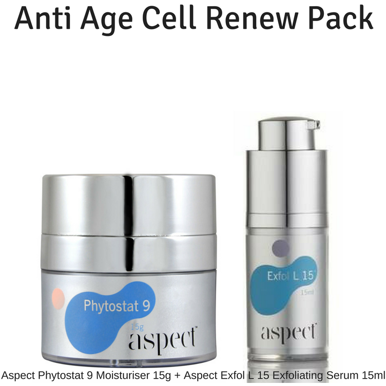 aspect skincare Aspect Anti Age Cell Renew Pack. Aspect Phytostat 9 Anti Ageing Cream 15g + Aspect Cell Renewing Serum Exfol L 15. 15ml