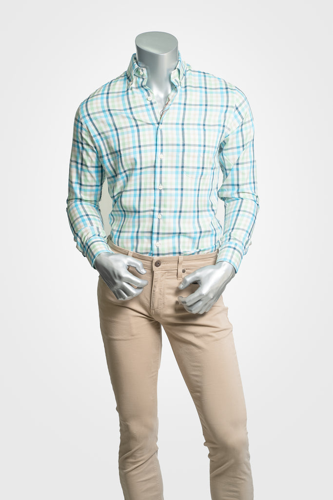 Peter Millar Blue and Green Button Down