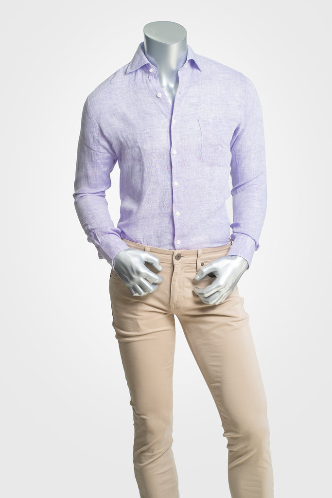 Peter Millar Purple Linen Sport Shirt