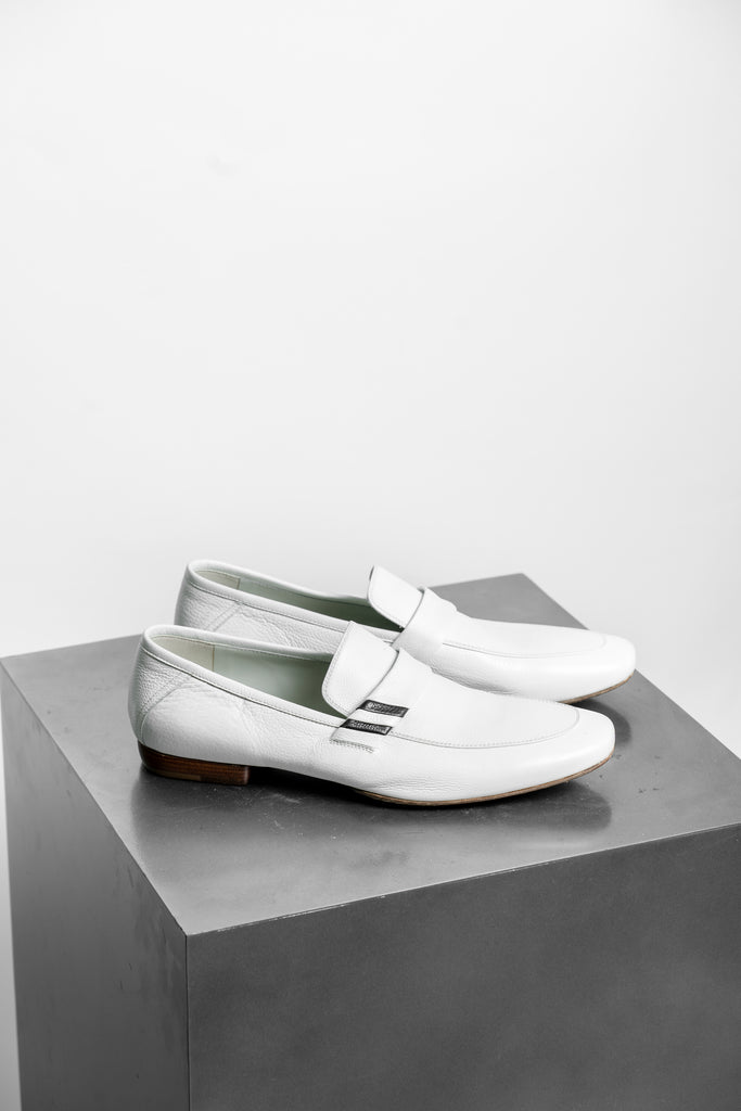 Pal Zileri White Leather Loafers
