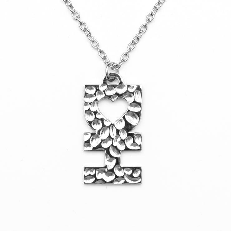 DH MAN NECKLACE IN HAMMERED SILVER