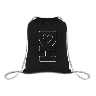 White DH Outline Drawstring Bag in Black