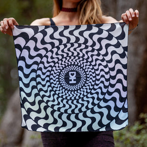 Black Wavy Spiral Bandana in Rainbow