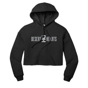 Reflective Desert Hearts Primary Logo womens Cropped Pullover Hoodie in Black