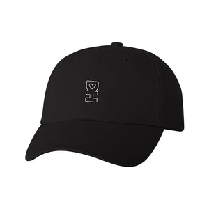 White DH Outline Dad Hat in Black
