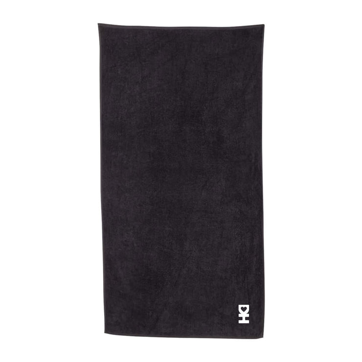White DH Man Towel in Black