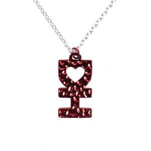 DH Red Iridescent Necklace w/ Silver Chain