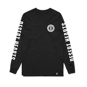 WHITE WAVY SPIRAL LONG SLEEVE CREW NECK TEE IN BLACK