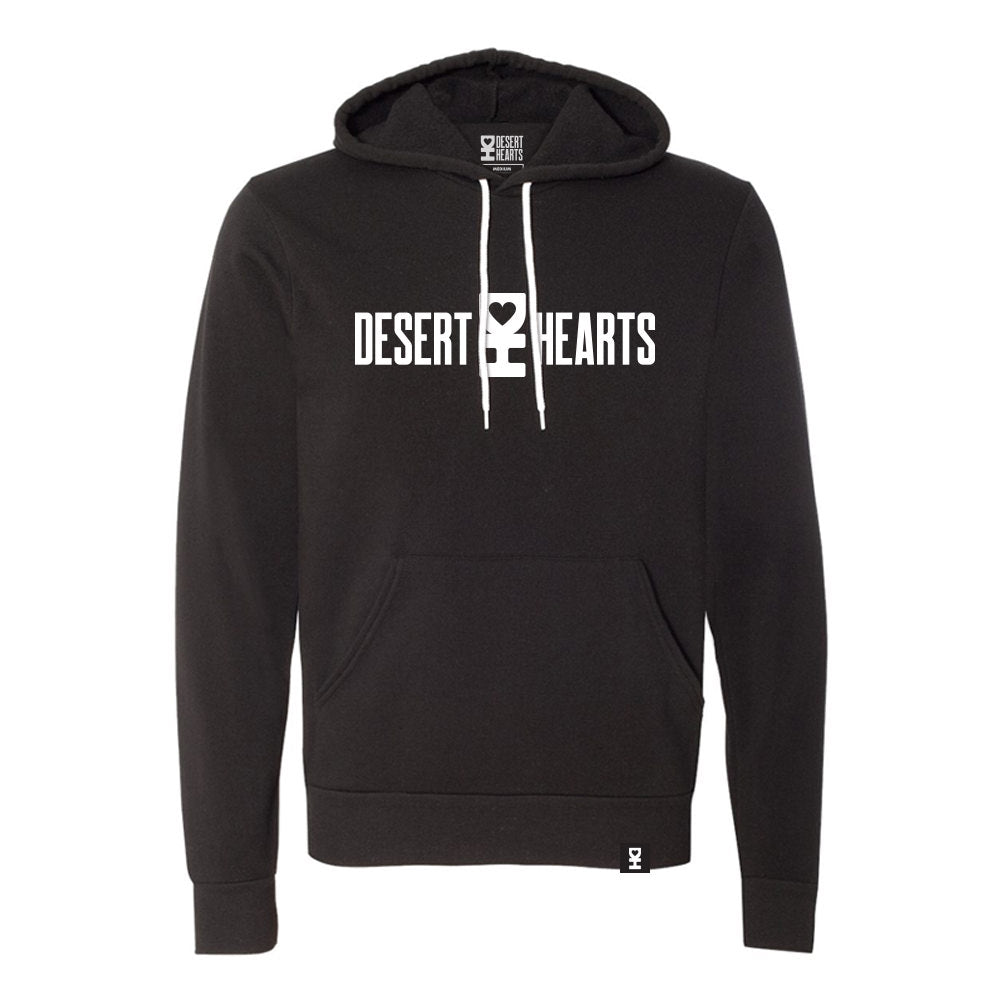WHITE DESERT HEARTS LOGO PULLOVER HOODIE IN BLACK