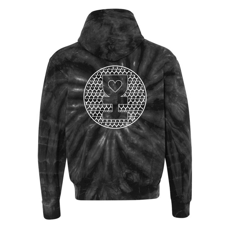 WHITE SACRED HEART MANDALA PULLOVER HOODIE IN GRAY ON BLACK TIE DYE