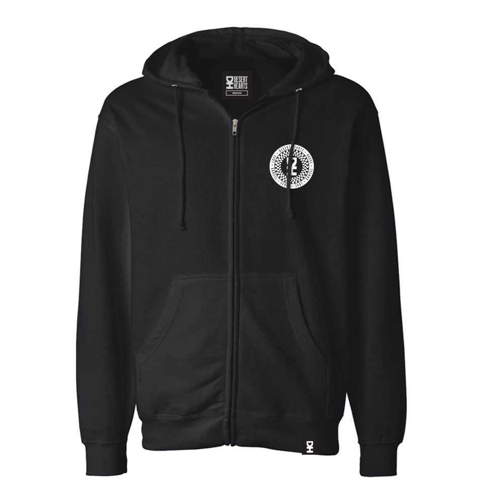 WHITE WAVY SPIRAL ZIP HOODIE IN BLACK