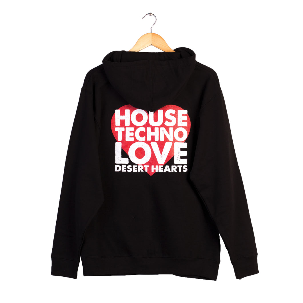 HOUSE TECHNO LOVE ZIP UP HOODIE IN BLACK