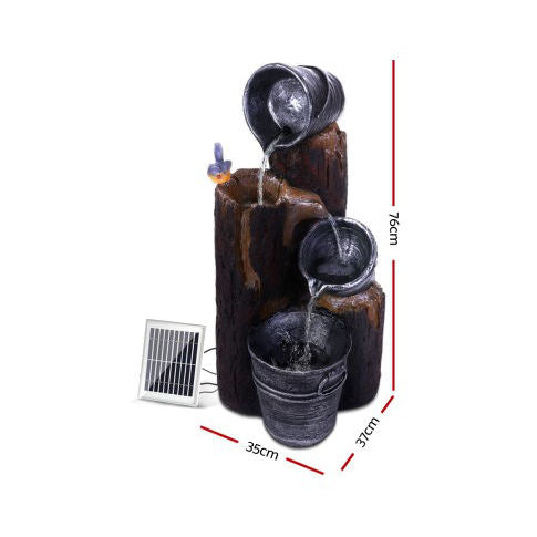 Solar Cascading Wood and 3 Buckets Water Fountain w/ LED - 76cm