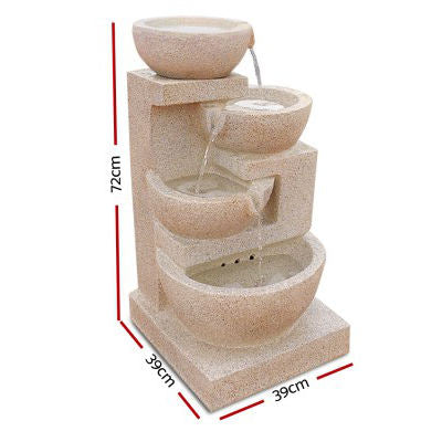Solar Powered 4-Tier Bowls Water Fountain w/ LED - Sand Beige 72cm