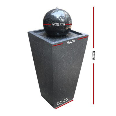 Tower Ball Solar Powered Water Fountain - Black 82cm