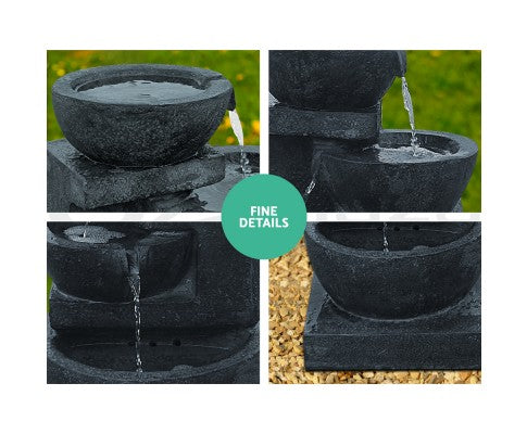 Solar Powered 4-Tier Bowls Water Fountain w/ LED - Dark Blue 72cm