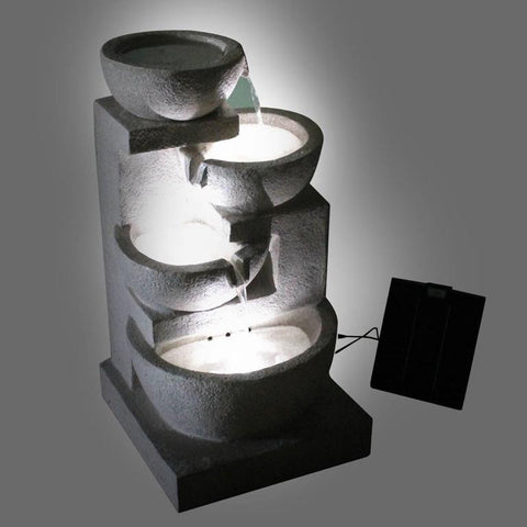 Solar Powered 4-Tier Water Fountain w/ LED - Dark Blue