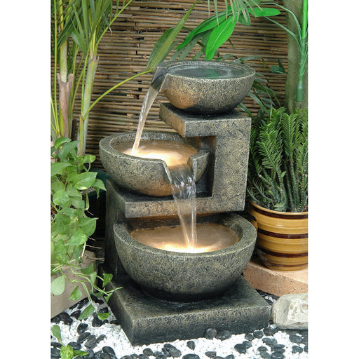 Carmen 3 Tier Water Feature w/ LED Lights - 60cm