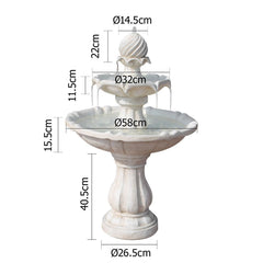 Solar Powered Ivory 3-Tier Water Fountain