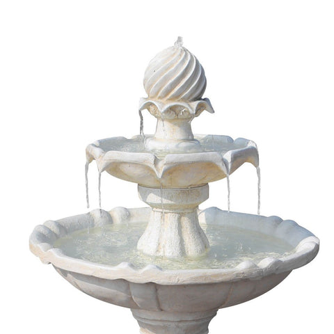 Solar Powered Ivory 3-Tier Water Fountain - 90cm