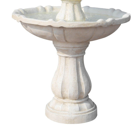 Image of Solar Powered Ivory 3-Tier Water Fountain - 90cm