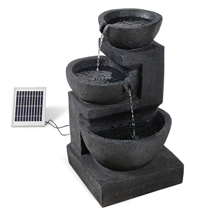 Solar Powered 3-Tier Bowls Water Fountain w/ LED - 60cm