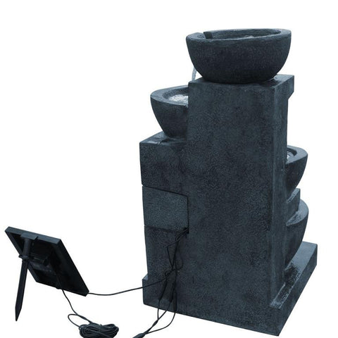 Image of Solar Powered 4-Tier Water Fountain w/ LED - Dark Blue 72cm