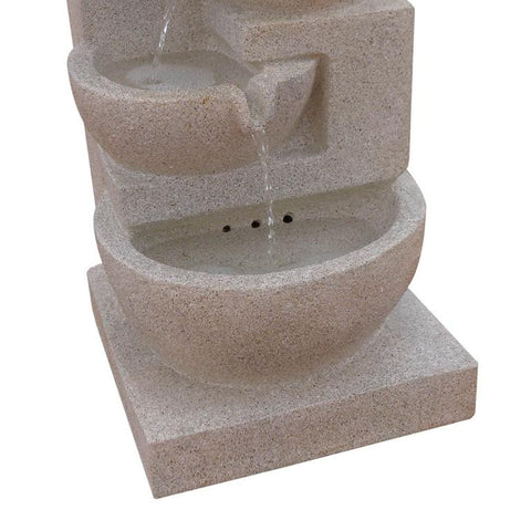 Solar Powered 4-Tier Water Fountain w/ LED - Sand Beige 72cm