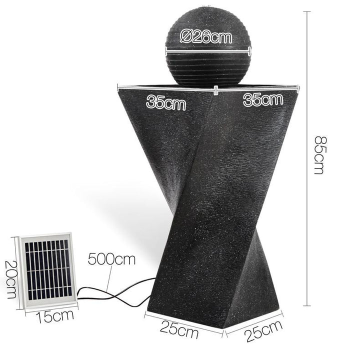 Solar Powered Twist Water Fountain w/ LED - 85cm