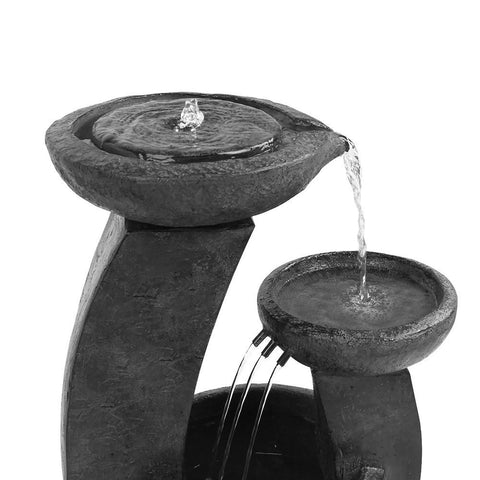Solar Powered Mushroom 3-Tier Water Fountain w/ LED