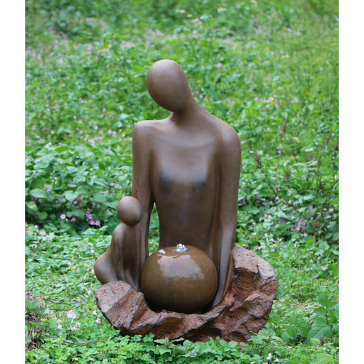 Madre Abstract Mum & Baby Water Feature w/ Rusted Effect - 79cm