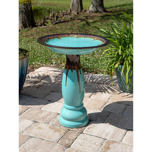 Mali in Teal Ceramic Glazed Birdbath - 58cm