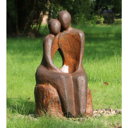 Amore Lovers Couple Water Feature w/ LED and Rusted Effect - 80cm