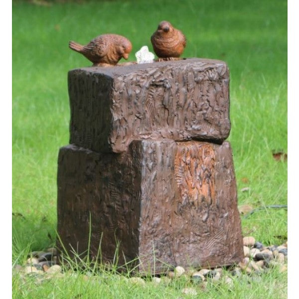 Two Birds On Rocks Water Feature w/ LED and Rusted Effect- 55cm