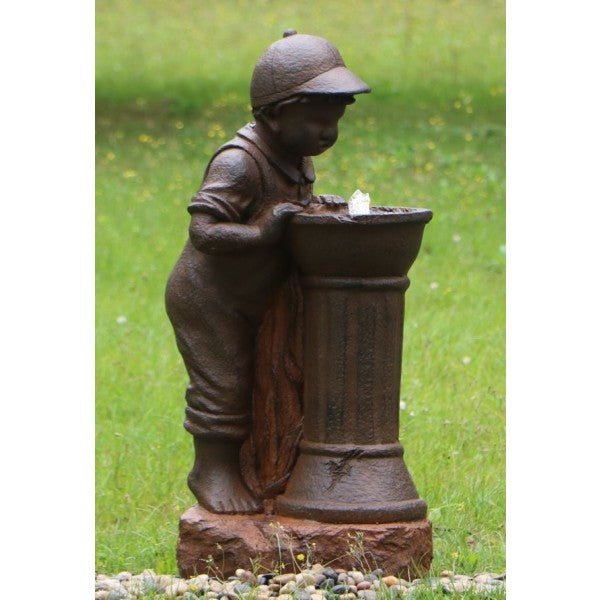 Boy At Tap Water Feature w/ LED and Rusted Effect - 80cm