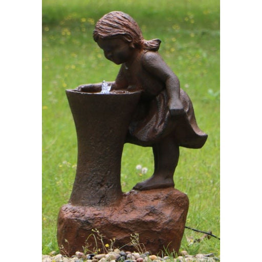 Girl At Tap Water Feature w/ LED and Rusted Effect- 80cm