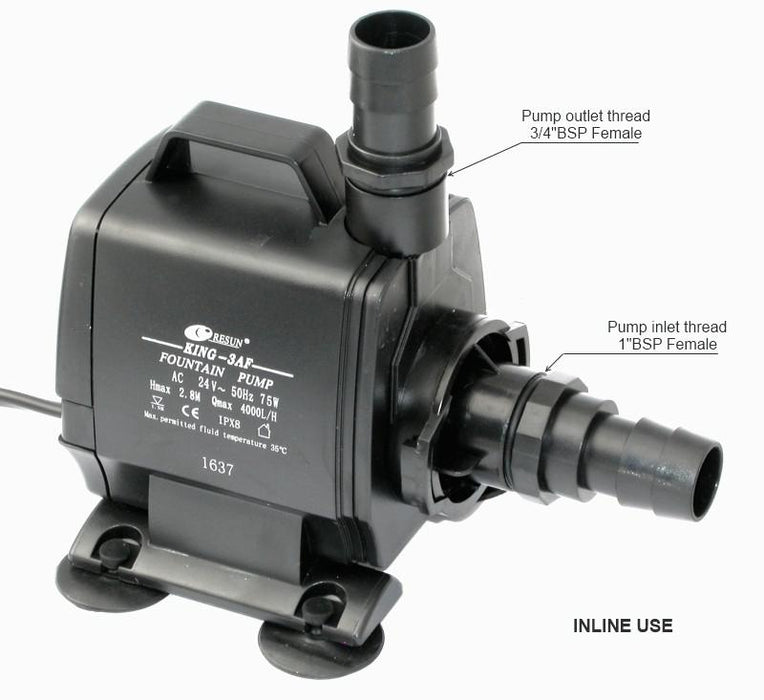 Resun King 3AFLV Fountain or Pond Pump - 24V 4000L/H - Max Head 2.35m