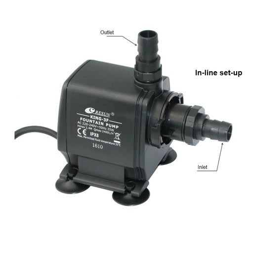 Resun King 3F Fountain or Waterfall Pond Pump - 240V 2400L/hr