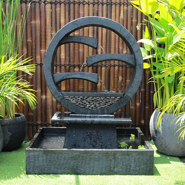 Wagon Wheel Concrete Modern Water Feature - Large 150cm