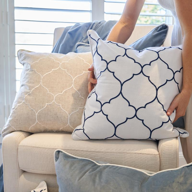 Hamptons Home Blue and White Nantucket Montauk Cushion