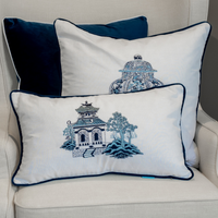 Pagoda Blue and White Cushion Cover 30 cm by 50 cm