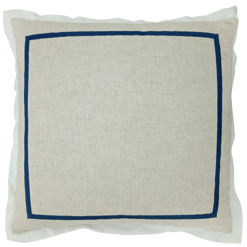 Mirage Haven JERUK Dark Blue Flange Linen Cushion Cover