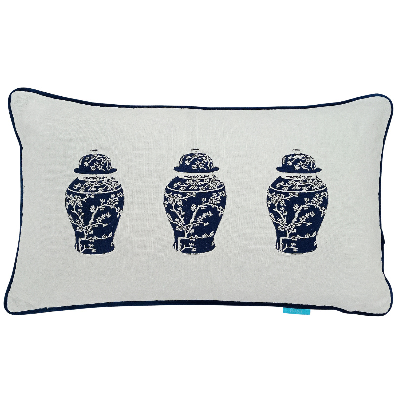 Plum Blossom Ginger Jar Trio Blue and White Cushion Cover | Hamptons Home