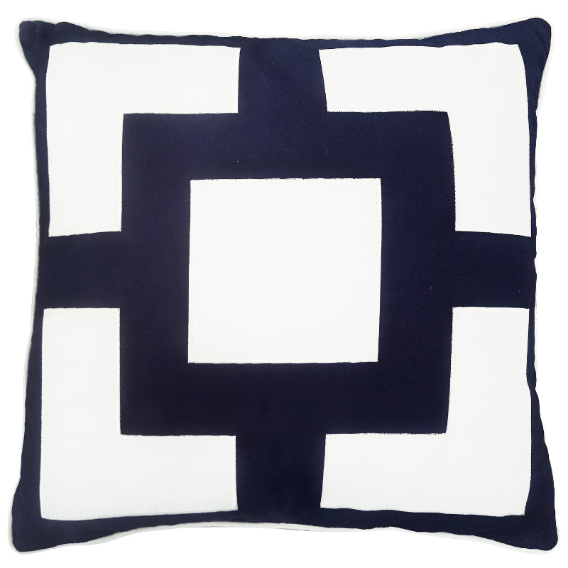 Mirage Haven KIRRA Dark Blue and White Four Corners Outdoor Cushion Cover