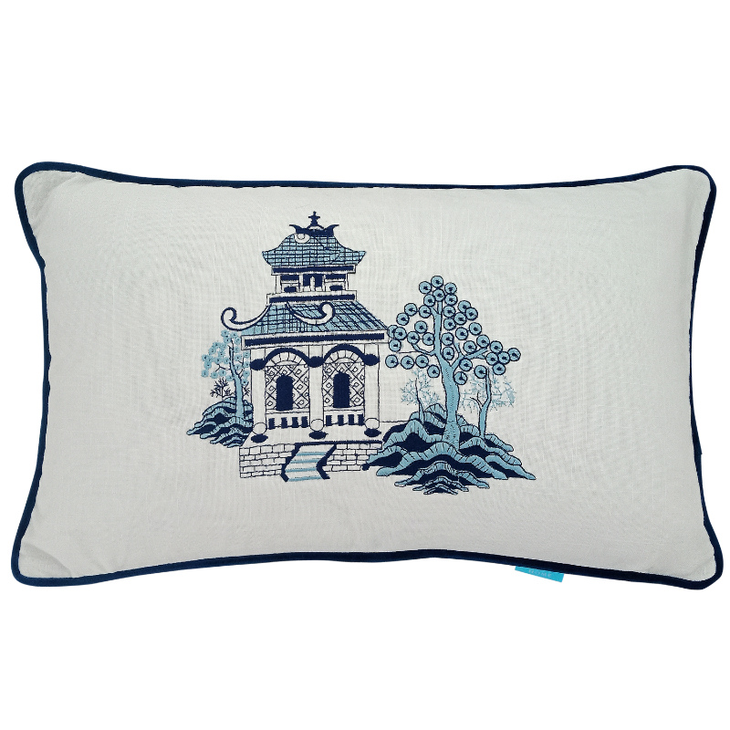 Pagoda Blue and White Cushion Cover | Hamptons Home
