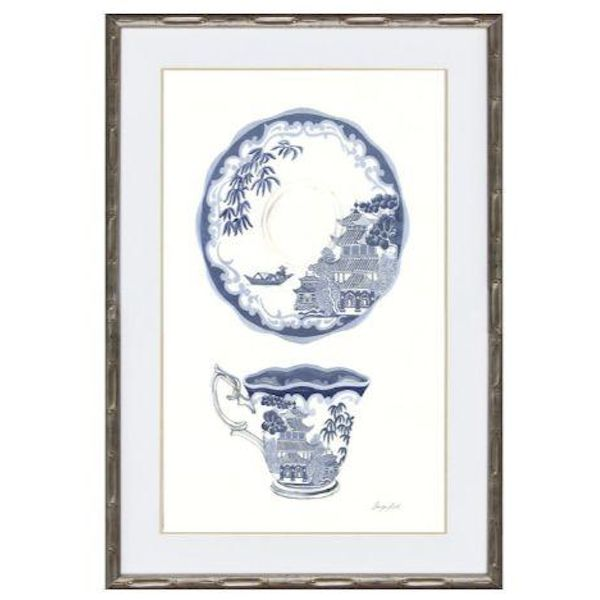 Hamptons Blue and White Tea China Framed Wall Art 54 cm by 74 cm (Design 1)