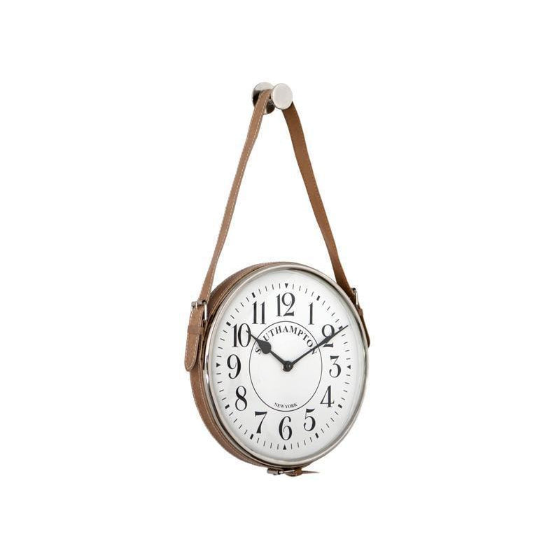 Nickel Hang Clock with Leather Strap | Hamptons Home
