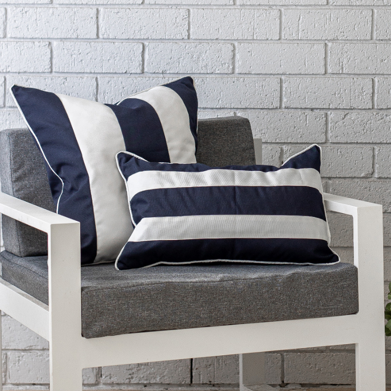 Mirage Haven KIRRA Dark Blue and White Stripe Outdoor Cushion Cover