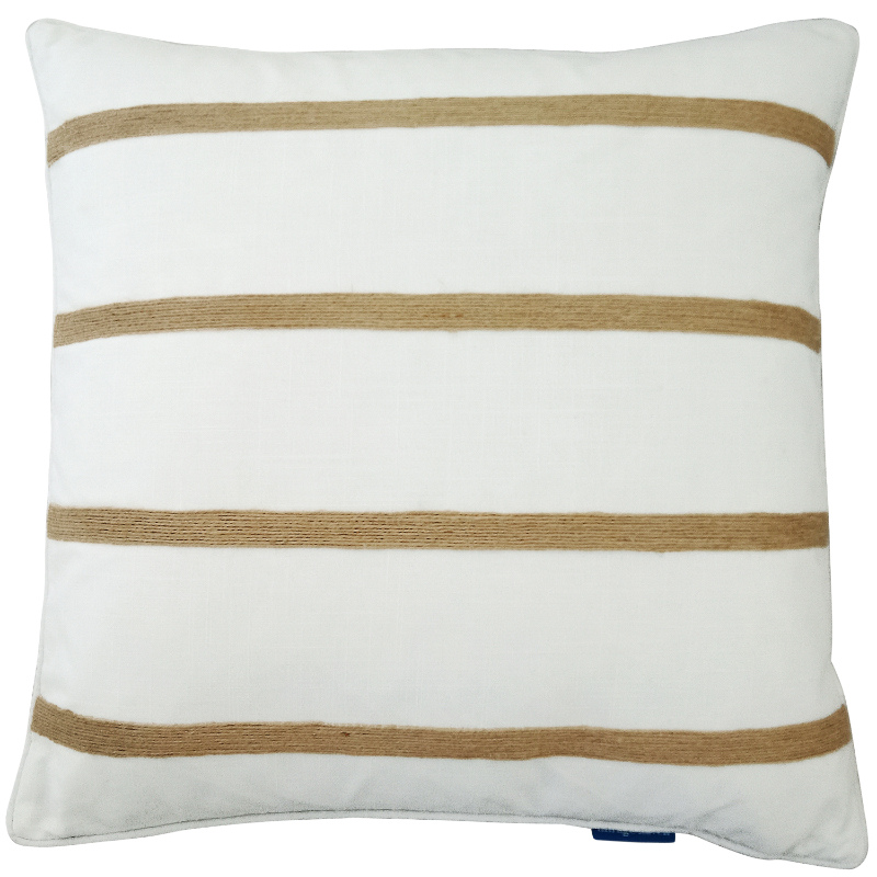 Mirage Haven INDEE White and Hemp Multi Stripe Cushion Cover
